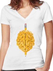 Pencil Brain Women's Fitted V-Neck T-Shirt