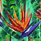 Bird of Paradise Crane Flower Acrylic Painting by Beverly Claire Kaiya