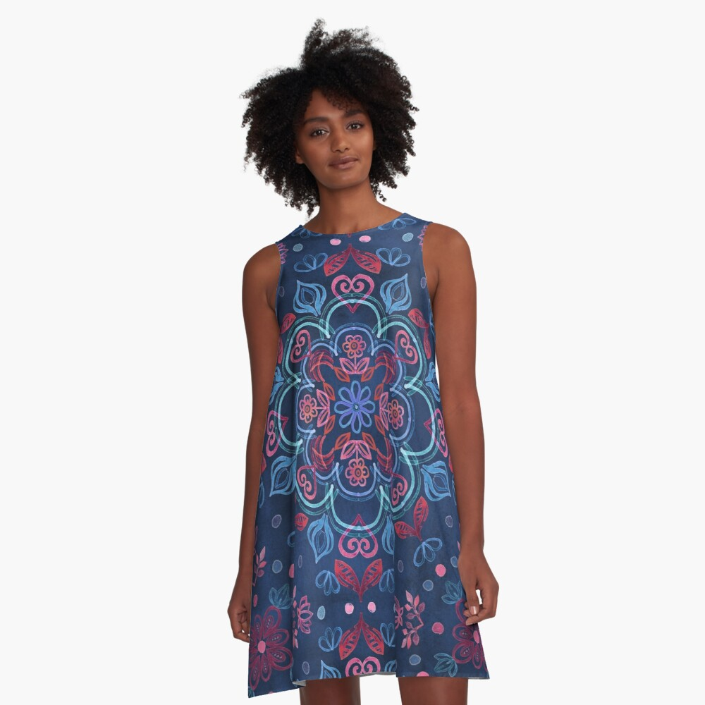 Cherry Red & Navy Blue Watercolor Floral Pattern A-Line Dress