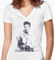 Elvis presley portrait 01 Women's Fitted V-Neck T-Shirt