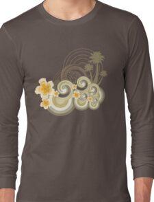 Tropical Beach Waves & Yellow Hibiscus Long Sleeve T-Shirt