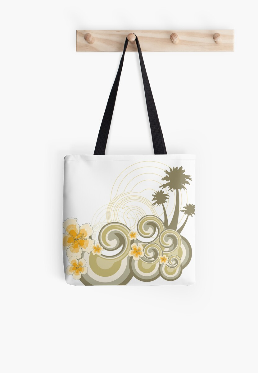 Tropical Beach Waves & Yellow Hibiscus by fatfatin