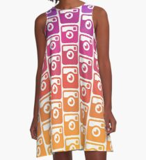 Insta Sunset Cameras Pattern A-Line Dress