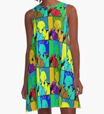 Neon Beauty in Denim A-Line Dress