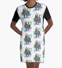Super Magic Rainbow Dream Castle Graphic T-Shirt Dress