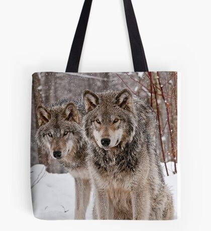 Timber Wolf Pair Tote Bag