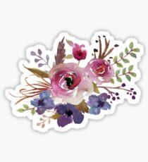 Burgundy Blue Watercolor Flower Bouquet Sticker