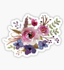 Burgundy Blue Watercolor Flower Bouquet Sticker