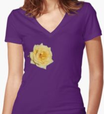 Yellow Rose on Purple Women's Fitted V-Neck T-Shirt