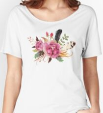 Burgundy Watercolor Flowers and Feathers Women's Relaxed Fit T-Shirt
