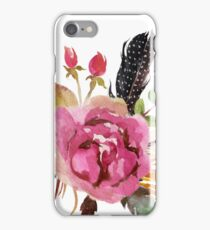 Burgundy Watercolor Flowers and Feathers iPhone Case/Skin