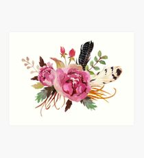 Burgundy Watercolor Flowers and Feathers Art Print