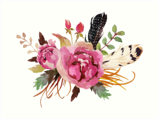 Burgundy Watercolor Flowers And Feathers By Junkydotcom