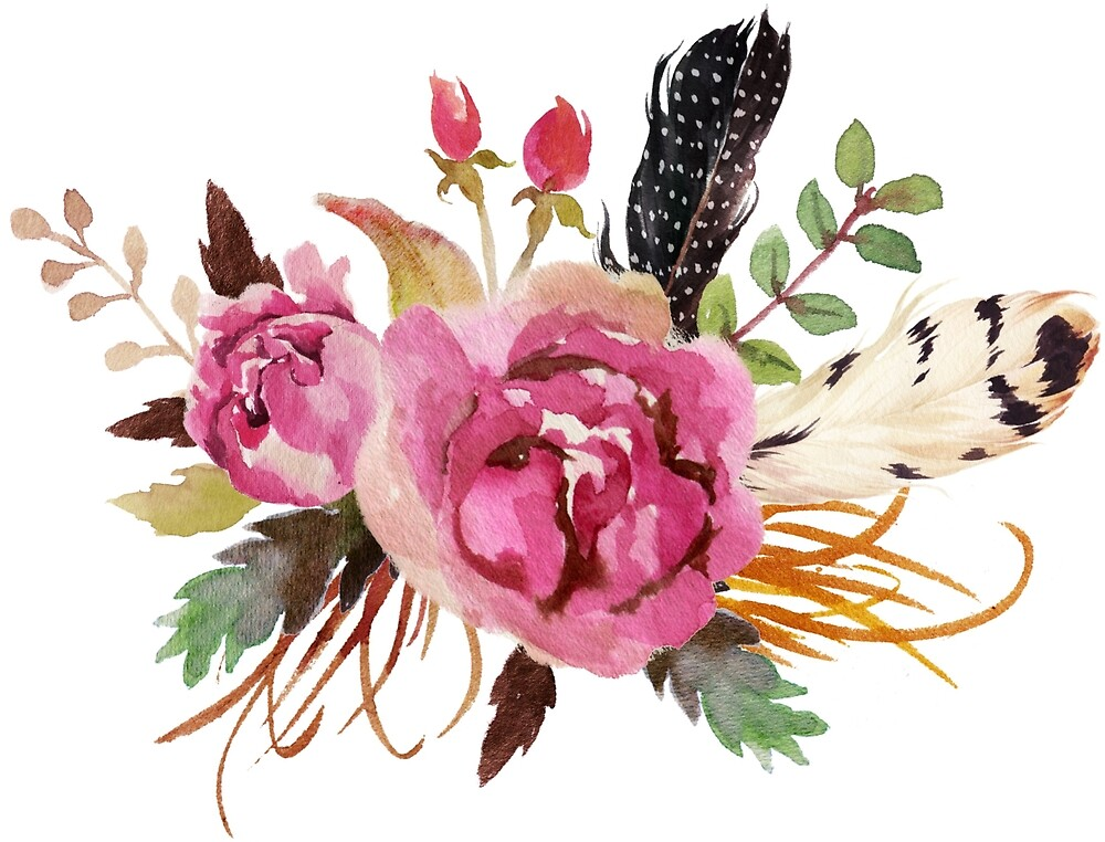 Quot Burgundy Watercolor Flowers And Feathers Quot By Junkydotcom