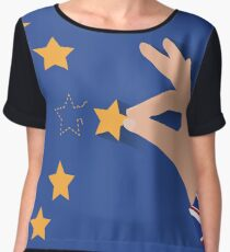 Brexit UK hand removing star from EU flag leaving just stitches behind Chiffon Top