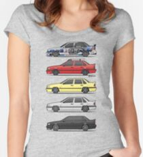 Stack of Volvo 850R 854R T5 Turbo Saloon Sedans Women's Fitted Scoop T-Shirt