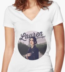 Camiseta entallada de cuello en V LAUREN JAUREGUI