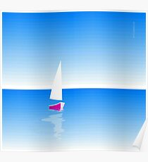 Boat on Calm Blue Sea - Pink Boat Poster