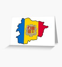 Andorra Map With Andorran Flag Greeting Card