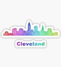 Rainbow Cleveland skyline Sticker
