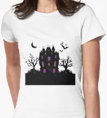 Haunted Silhouette Rainbow Mansion Womens Fitted T-Shirt