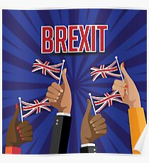 Brexit thumbs up with UK flags Poster