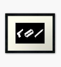 Guns, Razors, Knives (White) Framed Print