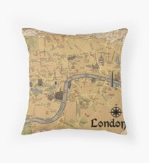 Map of London - Tolkien Inspired  Throw Pillow