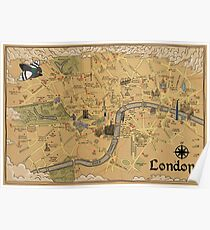 Map of London - Tolkien Inspired  Poster