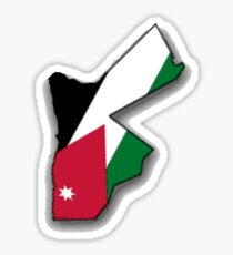 Jordan Map With Jordanian Flag Sticker