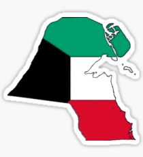 Kuwait Map With Kuwaiti Flag Sticker