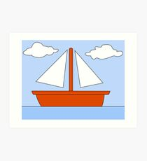 Cartoon Boat Picture Art Print
