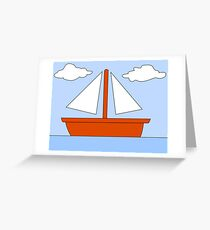 Cartoon Boat Picture Greeting Card