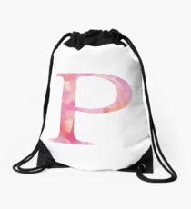 Pink Rho Watercolor Letter Drawstring Bag
