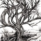 Twisted Tree, Ink Drawing by Danielle Scott