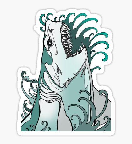 megalodon, great white, shark attack Sticker