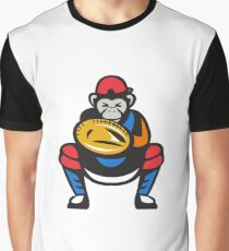 Chimpanzee Baseball Catcher Retro Graphic T-Shirt