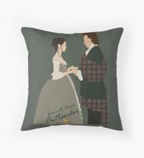 Outlander/Jamie & Claire wedding silhouettes  Throw Pillow