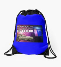 Demons Run When A Good Man Goes To War Supernatural Doctor Who... Drawstring Bag