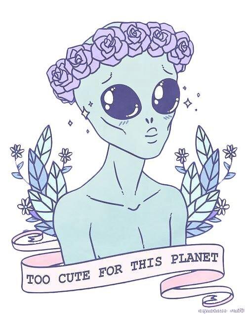 Alien Tumblr Kawaii Pastel By Osomatsticker Redbubble
