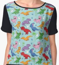 Cute Dinosaur Pattern Women's Chiffon Top