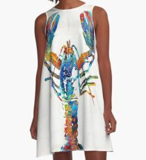 Colorful Lobster Art by Sharon Cummings A-Line Dress