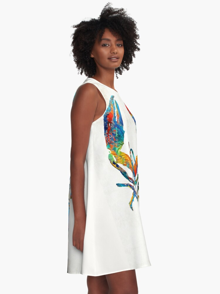 Alternate view of Colorful Lobster Art by Sharon Cummings A-Line Dress