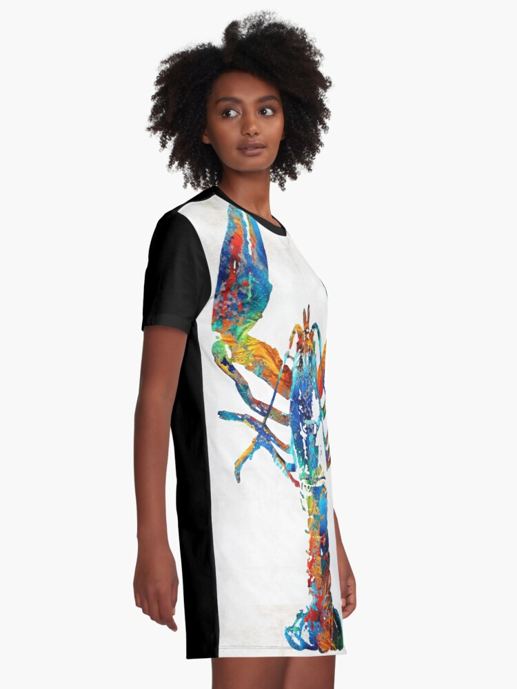 Alternate view of Colorful Lobster Art by Sharon Cummings Graphic T-Shirt Dress