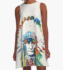 Native American Art - Chief - By Sharon Cummings A-Line Dress