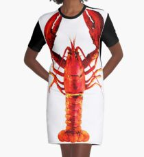 Red Lobster - Full Body Seafood Art Graphic T-Shirt Dress