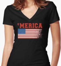 'Merica Women's Fitted V-Neck T-Shirt