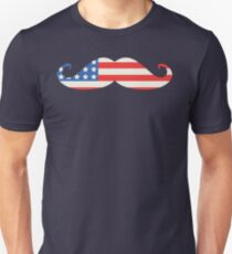 USA Flag Moustache Unisex T-Shirt