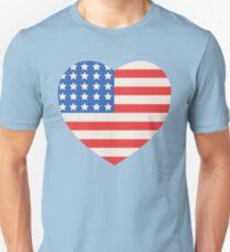 America Flag Heart 4th Of July Unisex T-Shirt