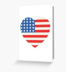 America Flag Heart 4th Of July Greeting Card